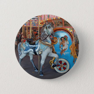 Carousel Horse with Cherub! 6 Cm Round Badge