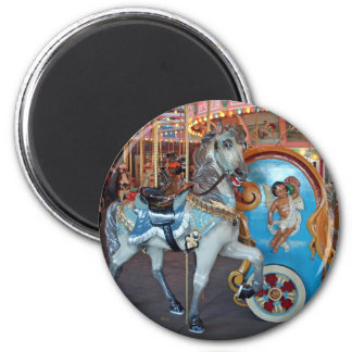 Carousel Horse with Cherub! 6 Cm Round Magnet