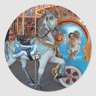 Carousel Horse with Cherub! Classic Round Sticker