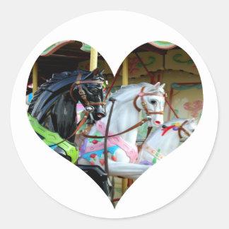 Carousel Horses Heart Sticker