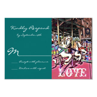 Carousel Horses Love Carnival Wedding RSVP Cards Personalized Invite