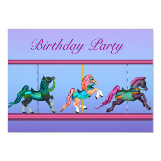 Carousel Horses Pink & Purple Girls Birthday Party Card