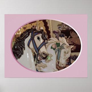 Carousel horses print poster