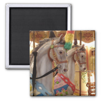 Carousel Horses Square Magnet