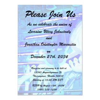 carousel horses streaked blue personalized invite