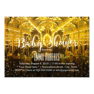 Carousel Merry Go Round String Lights Baby Shower 13 Cm X 18 Cm Invitation Card
