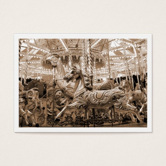 Carousel, Mini Photo (White Bordered) Business Card
