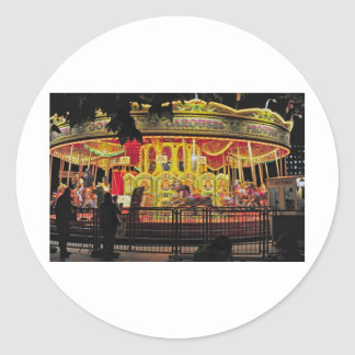 carousel on thames at night classic round sticker