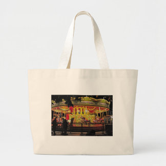 carousel on thames at night large tote bag