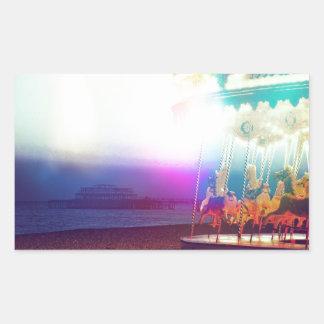 Carousel On The Beach Rectangular Sticker