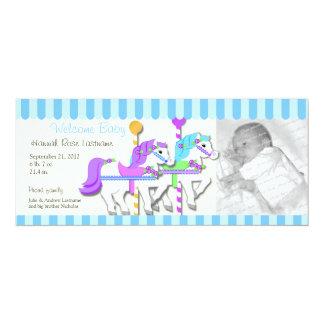 "Carousel Photo Birth Announcement 4"" X 9.25"" Invitation Card"