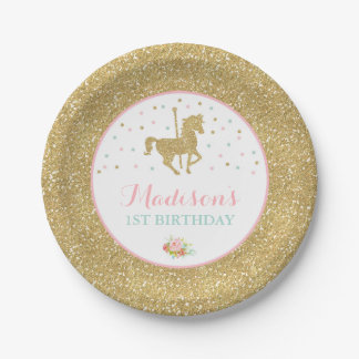 """Carousel Pink And Gold Paper Plate 7"""" Paper Plates 7 Inch Paper Plate"""