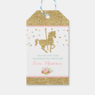 Carousel Pink & Gold Party Favor Thank You Tag