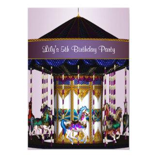 "Carousel Ponies Girls 5th Birthday Party 5"" X 7"" Invitation Card"