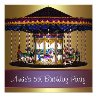 Carousel Ponies Girls 5th Birthday Party Custom Invitations