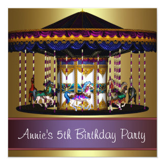 "Carousel Ponies Girls 5th Birthday Party 5.25"" Square Invitation Card"