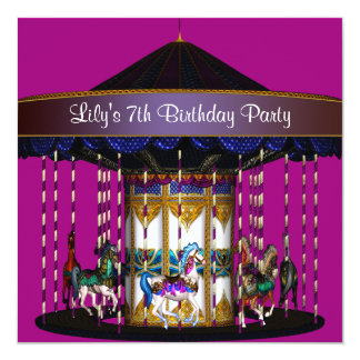 """Carousel Ponies Girls 7th Birthday Party 5.25"""" Square Invitation Card"""