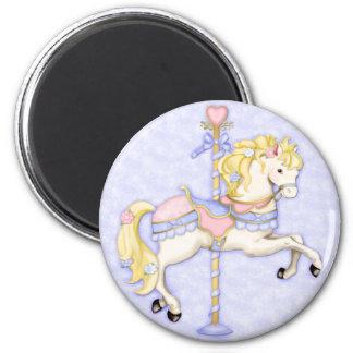 Carousel Pony 6 Cm Round Magnet