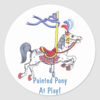 Carousel Pony At Play! Collector Sticker Round Sticker