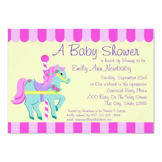 Carousel Pony Baby Shower 13 Cm X 18 Cm Invitation Card