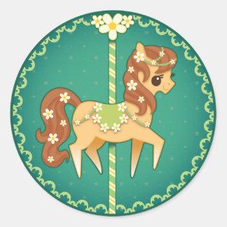 Carousel Pony – Daisy Flower Classic Round Sticker