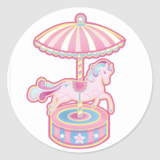 Carousel Pony Round Sticker