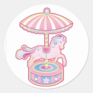 Carousel Pony Round Sticker