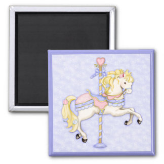 Carousel Pony Square Magnet