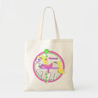 Carousel Pony with Roses Pink and Green Tote Bag