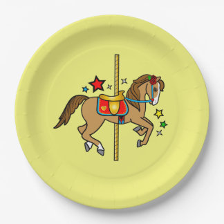 Carousel Pony with Stars Birthday 9 Inch Paper Plate
