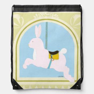 Carousel Rabbit by June Erica Vess Drawstring Bag