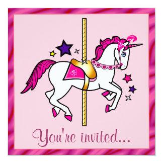 Carousel Unicorn Birthday Party Custom Invite