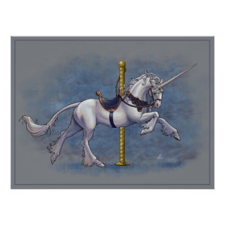 Carousel Unicorn Poster