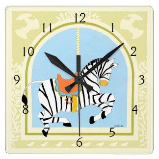 Carousel Zebra by June Erica Vess Square Wall Clock