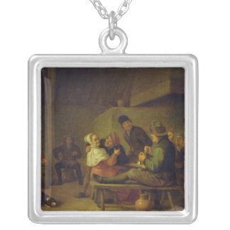 Carousing Farmers Silver Plated Necklace