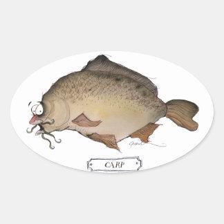 carp fish, tony fernandes oval sticker