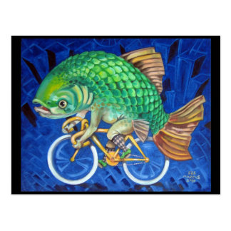 Carp On A Bicycle Postcard