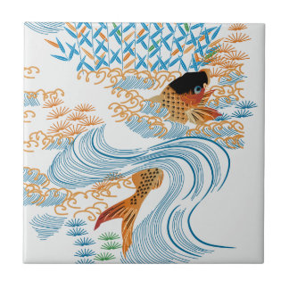 Carp swim in the COOL in the pond Small Square Tile