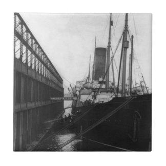 Carpathia in dock in New York 1912 Small Square Tile
