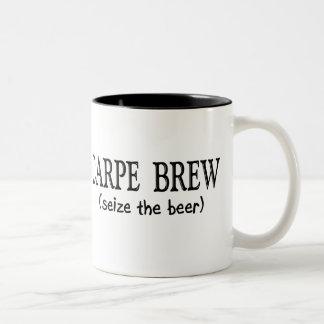 CARPE BREW   (Seize the beer) Two-Tone Mug