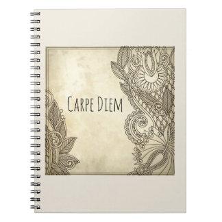 Carpe Diem beautiful journal with tribal design