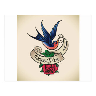Carpe Diem Bluebird Tattoo Postcard