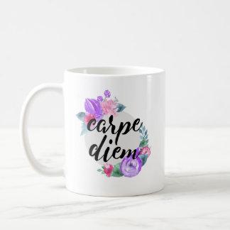 Carpe Diem Floral Coffee Mug