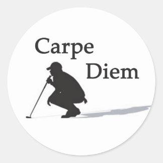 Carpe Diem Golf #2 Classic Round Sticker