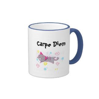 Carpe Diem Kitty Ringer Mug