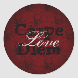 Carpe Diem Love Skulls and Crossbones ~ Red, Black Classic Round Sticker