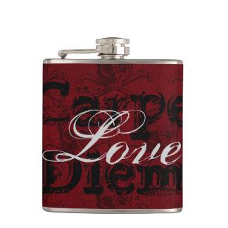 Carpe Diem Love Skulls and Crossbones ~ Red, Black Hip Flask