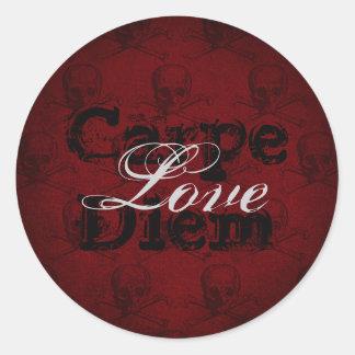 Carpe Diem Love Skulls and Crossbones ~ Red, Black Round Sticker