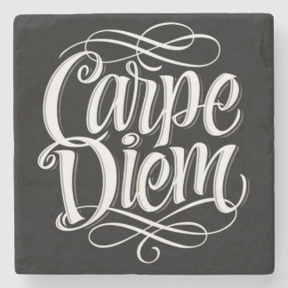 Carpe Diem Motivational Typography Stone Coaster