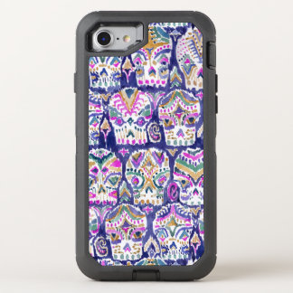 Carpe Diem Purple Boho Sugar Skulls OtterBox Defender iPhone 8/7 Case